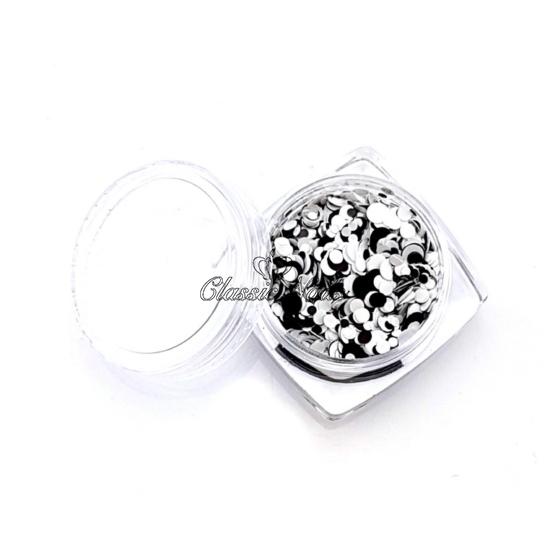 Köröm konfetti - black and white