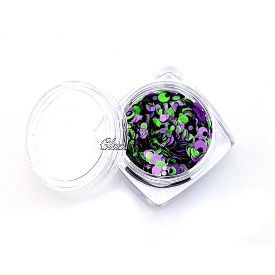 Köröm konfetti - lilac-green